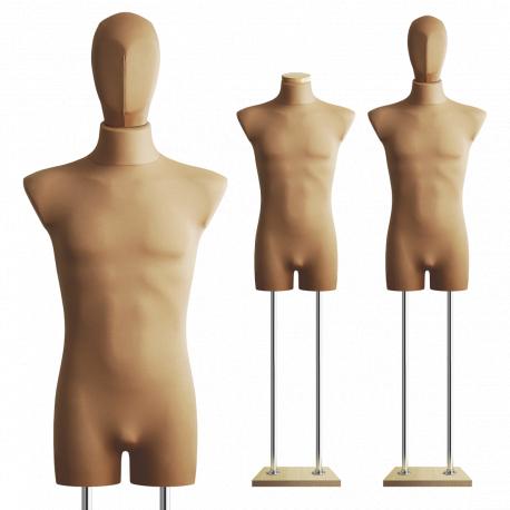 Manekin wystawowy bieliźniany męski z głową 48-50 BEŻ B-1