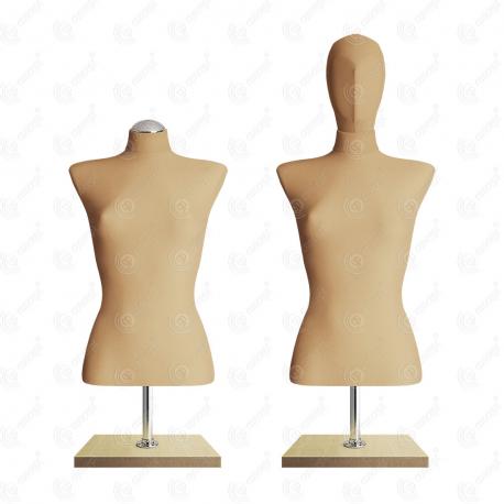 Manekin wystawowy damski krótki z głową 36-38 BEŻ BC-2