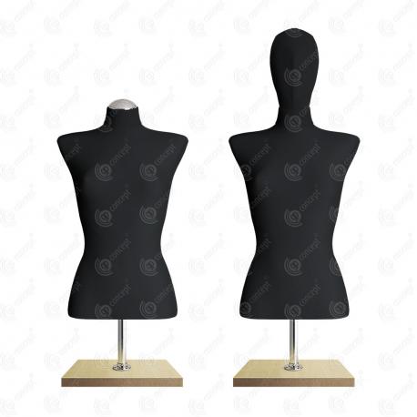 Manekin wystawowy damski krótki z głową 36-38 CZARNY BC-2