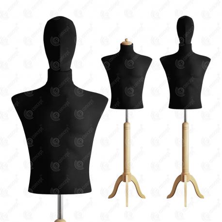 Manekin wystawowy męski krótki z głową 48-50 CZARNY S-1