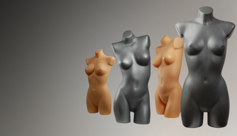 Ekspozytory plastikowe - torsy damskie i męskie, głowy i nogi ekspozycyjne