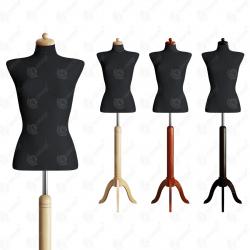 Manekin wystawowy damski krótki 36-38 CZARNY S-1