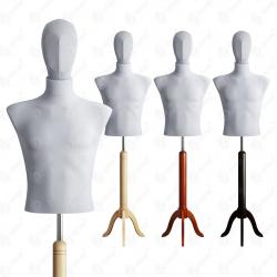 Manekin wystawowy męski krótki z głową 48-50 SZARY S-1