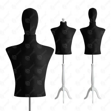 Manekin wystawowy męski krótki z głową 48-50 CZARNY S-4